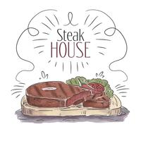 Bifteck BBQ aquarelle avec fond de légumes vecteur