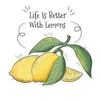 Fruit de citrons avec fond de citation inspirante vecteur