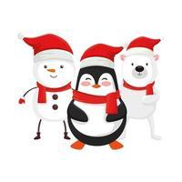 pingouin mignon et personnages de joyeux noël vecteur