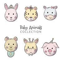 Collections de bébés animaux mignons vecteur
