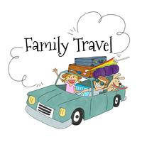 Scène de voyage avec la famille à l'intérieur d'une voiture avec des bagages à voyager