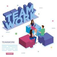 équipe de travail en réunion avec des pièces de puzzle vecteur