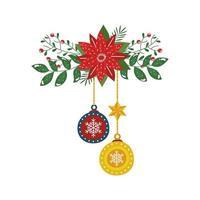 fleur de noël avec des boules suspendues décoratives