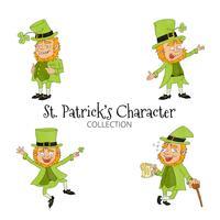 Collection de personnages mignons Cartoon St. Patrick vecteur