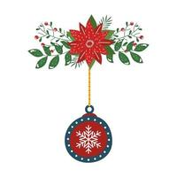 fleur noël avec boule décorative suspendue
