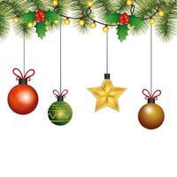 boules avec décoration de noël suspendue étoile