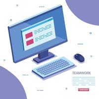 scène de travail d & # 39; équipe avec icône de bureau informatique