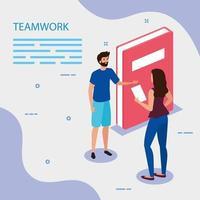 travail, équipe, couple, à, livre