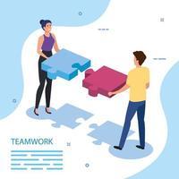 travail, équipe, couple, à, pièces puzzle vecteur