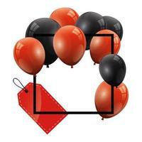 ballons hélium noir et rouge avec cadre carré et étiquette suspendue vecteur