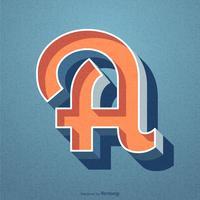 3D Retro Letter A Design de vecteur de typographie