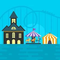 Illustration vectorielle de Roller Coaster et parc à thème