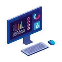 bureau d'ordinateur avec statistiques et application de menu