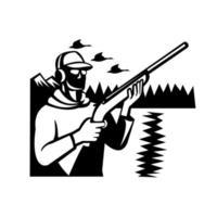 Tireur de canard chasseur d'oiseaux avec fusil de chasse au canard vecteur