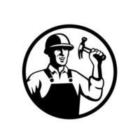 charpentier, ouvrier construction, tenue, marteau, cercle vecteur