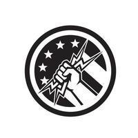 Tuyau de main électricien tenant drapeau usa éclair vecteur