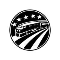 Train locomotive diesel avec drapeau américain américain vecteur