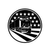 Vue de face du train locomotive diesel américaine avec des étoiles usa vecteur