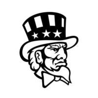 tête de symbole américain oncle sam mascotte noir et blanc vecteur