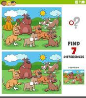 tâche éducative des différences avec un groupe de chiens