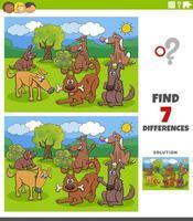 tâche éducative des différences avec un groupe de chiens et chiots