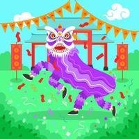 festival de danse du lion du nouvel an chinois vecteur