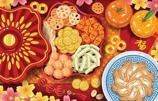 concept d'aliments de base et de délices du nouvel an chinois vecteur