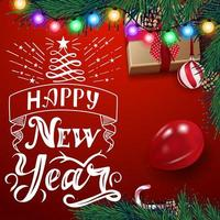 Bonne année, carte postale carrée rouge avec beau lettrage, guirlande, arbre de Noël, ballon, ballon, cadeau et boîte de bonbons, vue de dessus vecteur