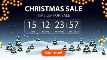 vente de Noël, bannière de réduction avec forêt d'hiver de dessin animé, ciel étoilé, minuterie avec rapport inversé et bouton vecteur