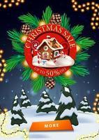 Vente de Noël, jusqu'à 50 de réduction, bannière de réduction verticale avec panneau rouge décoré de branches d'arbres de Noël, paysage d'hiver et bouton vecteur