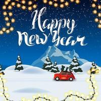 Bonne année, belle carte postale carrée avec paysage d'hiver de nuit sur fond et voiture vintage rouge transportant l'arbre de Noël