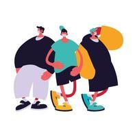 dessins animés d'hommes urbains avec des masques et des vêtements décontractés vecteur