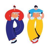 messager et femme avec masques, gants et paquets