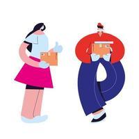 femme et messager avec masque, gants et colis