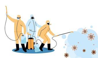 hommes portant des combinaisons de protection et désinfectant contre le covid 19 vecteur