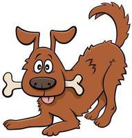 dessin animé, chien heureux, animal, caractère, à, os vecteur