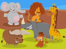 Groupe de personnages animaux africains sauvages de dessin animé drôle vecteur