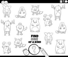 page de livre de coloriage unique avec des animaux vecteur