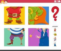 Devinez jeu de personnages fantastiques pour les enfants vecteur