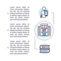 icône de concept étudiant universitaire avec texte vecteur