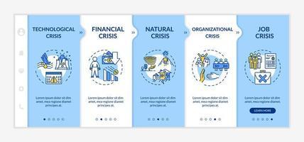 modèle de vecteur d'intégration des types de crise. urgences financières, naturelles, technologiques et organisationnelles.