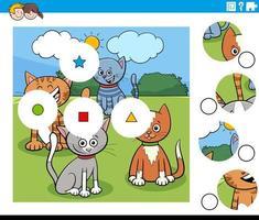 Match de pièces puzzle avec des personnages de chats vecteur