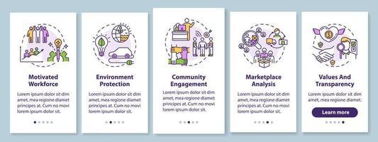 Écran de page de l'application mobile d'intégration d'entreprise responsable avec des concepts