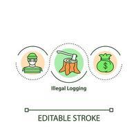 icône de concept d & # 39; exploitation forestière illégale