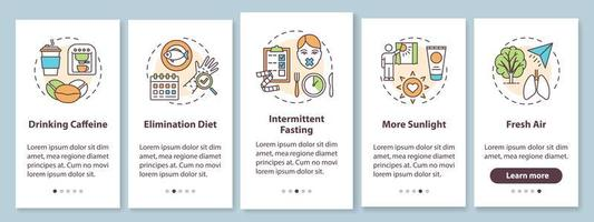 Conseils de biohacking écran de la page de l'application mobile d'intégration avec des concepts