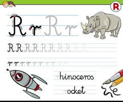 écriture de la feuille de calcul lettre r pour les enfants
