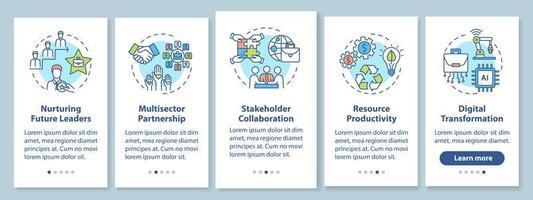 Écran de page de l'application mobile d'intégration de l'amélioration des performances de l'entreprise avec des concepts vecteur