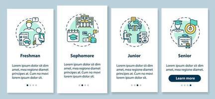 Écran de page de l'application mobile d'intégration de l'année de classe avec des concepts