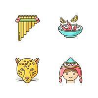 Ensemble d'icônes de couleur rgb pérou. art péruvien, cuisine, monde animalier, costume. siku, ceviche, jaguar, chapeau chullo. coutumes de la culture andine. voyager dans le pays hispanique. illustrations vectorielles isolées