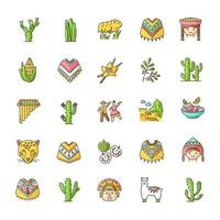 Ensemble d'icônes de couleur rgb pérou. paysages andins, traditions, cuisine, agriculture, animaux. alpaga, guinée, cochon, poncho, cherimoya, ceviche, jaguar, incas, marinera. illustrations vectorielles isolées